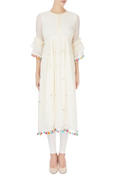White badla embroidered tunic