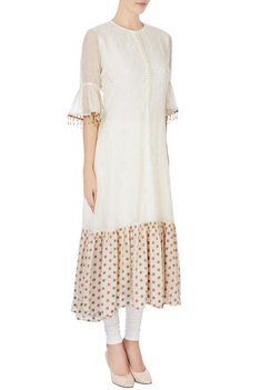 Cream brocade work kurta