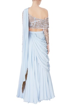 Hand-embroidered organza blouse with lehenga set.