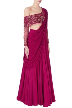 Hand-embroidered organza blouse with lehenga set