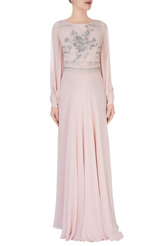 Pastel pink embellished dress