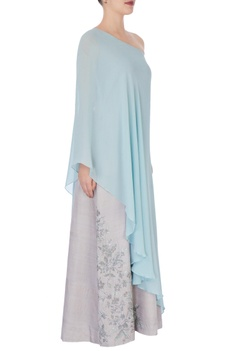 Grey tussar satin gown