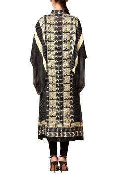 Black & beige printed kaftan kurta