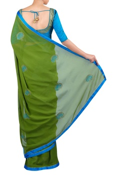 Motif embroidered sari with blouse