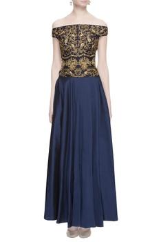 Black & blue zari embroidered gown