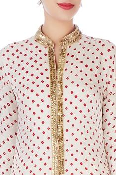 White bandhani jacket & churidar pants
