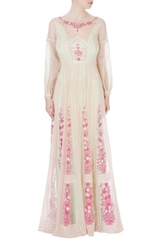 Mint green floral embroidered gown