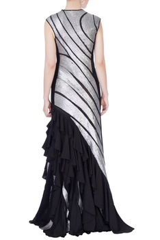 Black sequin sheeted tulle gown