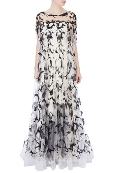 Black & white sequin embroidered gown