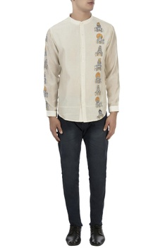 White monk embroidered shirt