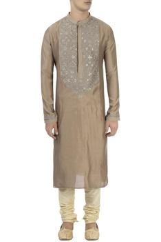 Brown & grey thread embroidered kurta