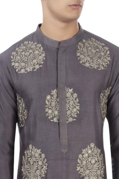 Purple thread embroidered kurta