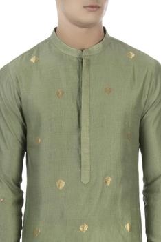 Green kurta with embellished sleeves
