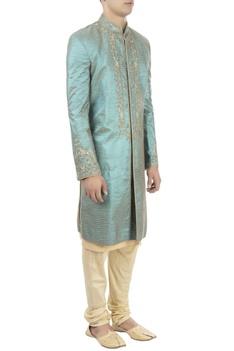 Blue sherwani & gold kurta