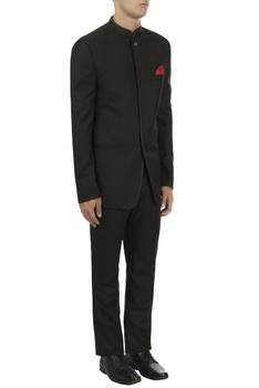 Black overlap bandhgala & trousers