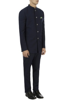 Navy blue wool bandhgala & trousers
