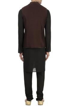 Beige jacquard patch nehru jacket