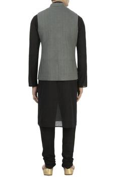 Grey matka silk nehru jacket