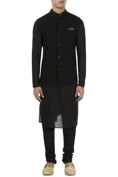 Black cotton floral embroidered jacket