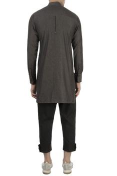 Charcoal grey high collar shirt