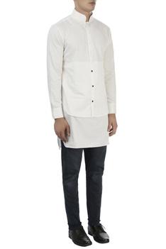 White high collar cotton shirt