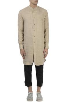 Beige long cotton kurta