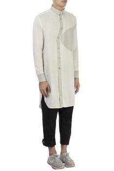 White & grey cotton shirt
