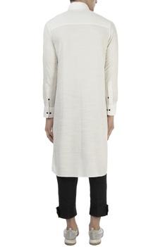 White kurta with mandarin collar
