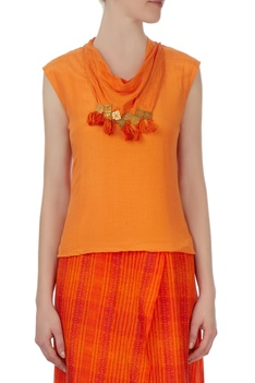 Orange draped silk jumpsuit