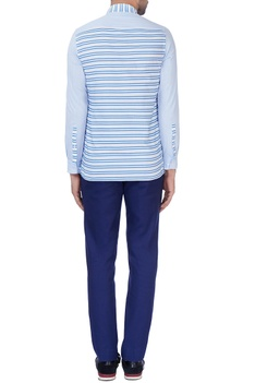 Blue striped panel shirt