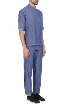 Blue high collar cotton shirt