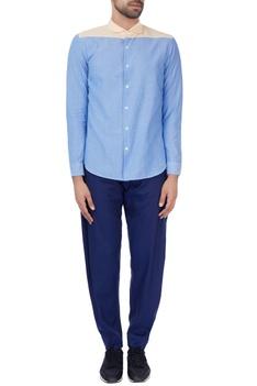 Blue color block formal shirt