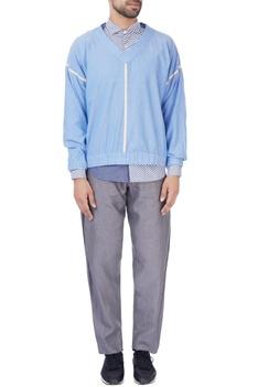 Blue v-neck cotton sweatshirt