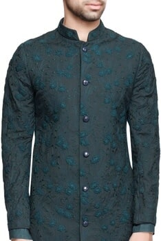 Forest green embroidered sherwani