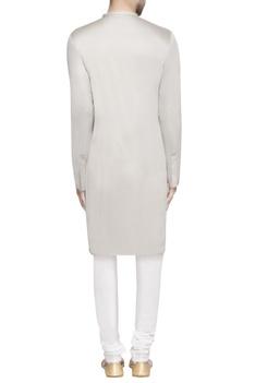 Grey lapel style long kurta