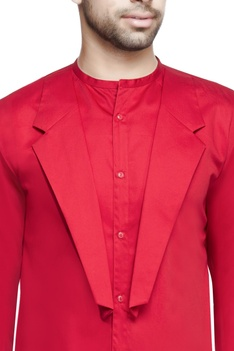 Red lapel style long kurta