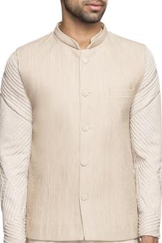 Beige pintucked bundi with kurta