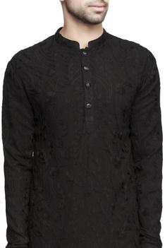 Black kashmiri embroidered long kurta