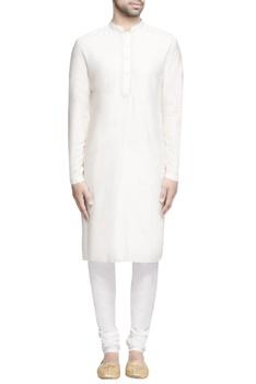 White embroidered bundi with kurta