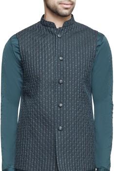 Teal green nehru jacket with kurta