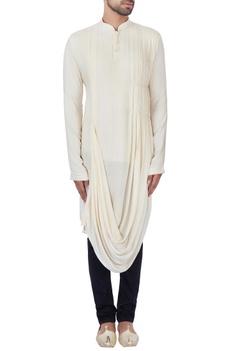 Cream textured rayon kurta