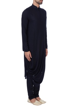 Black draped zipper style kurta