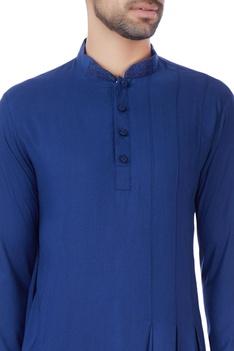 Blue box pleated draped kurta