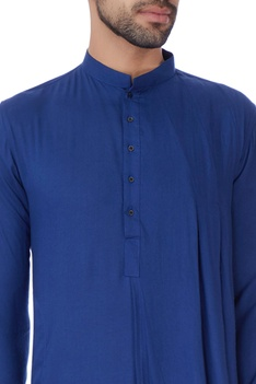 Blue one sided draped kurta