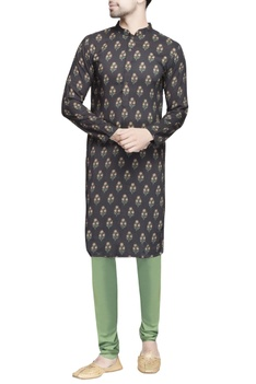 Black floral printed kurta men