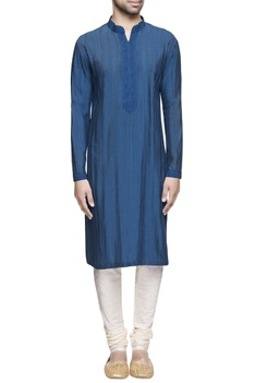 Teal blue spun silk kurta