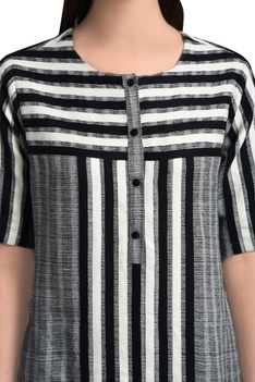 White & black stripe tunic