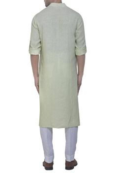 Lime green linen kurta