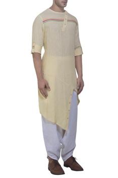 Yellow asymmetric kurta & harem pants