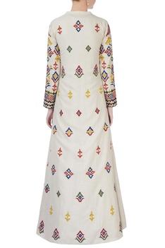 Beige hand-embroidered jacket & maxi kurta